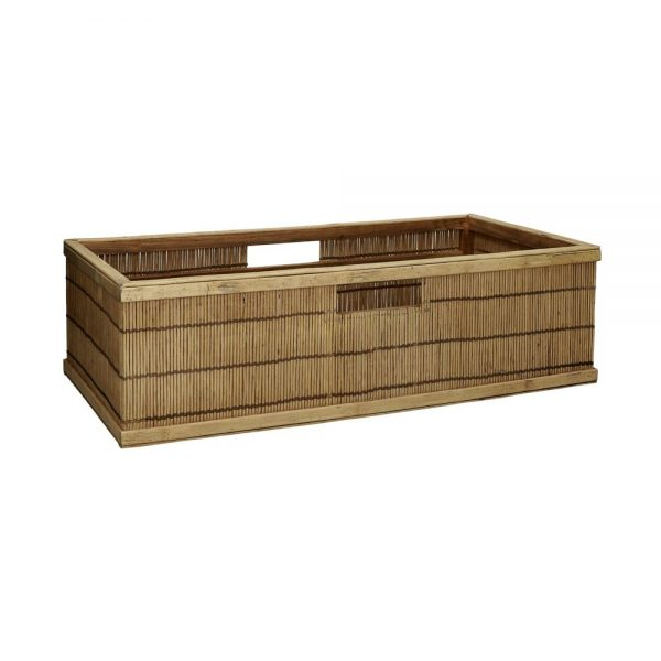 A long wooden crate